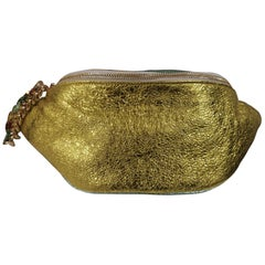 LisaC green glitter leather fanny pack with swarovski