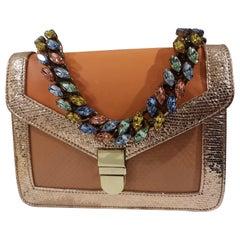 LisaC orange textile and leather shoulder handbag