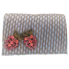 LisaC light blue rafia swarovski Shoulder bag / Fanny pack