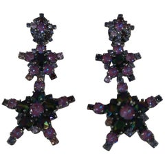LisaC Purple swarovski stars earrings