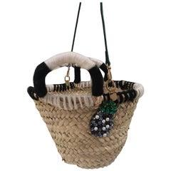 LisaC raffia Pineapple swarovski shoulder handle bag