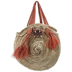 LisaC raffia swarovsky crab handbag