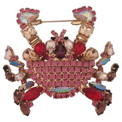 LisaC Swarovski stones Crab brooch