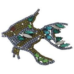 LisaC Swarovski stones fish brooch