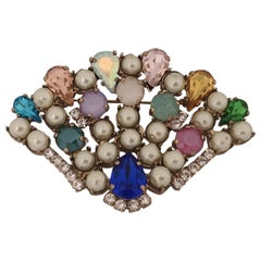 LisaC Swarovski stones shell brooch