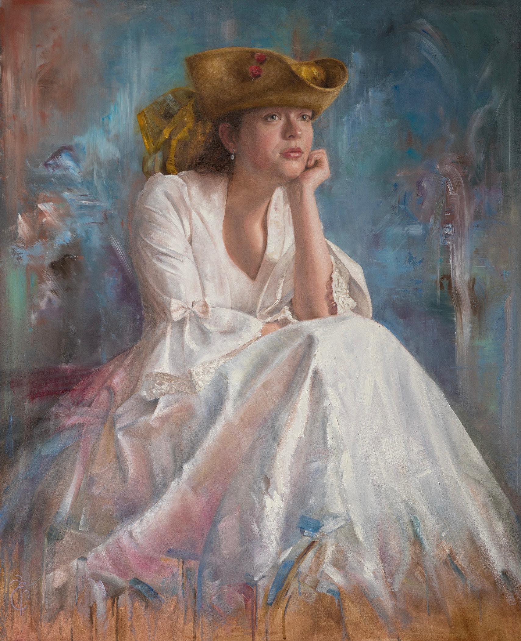 A Million Miles Away- 21st Century Dutch Portrait Painting of a Girl