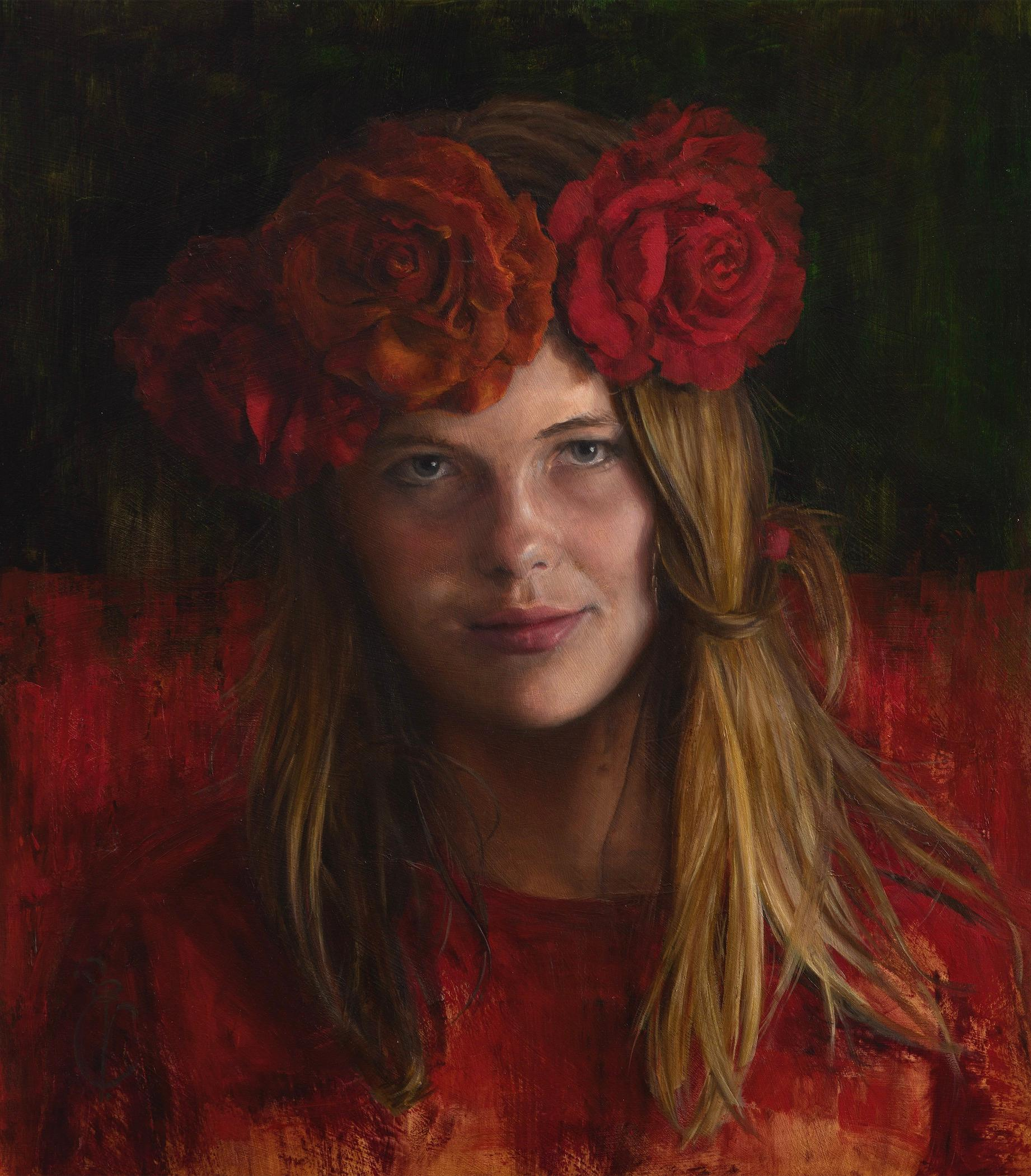 Roses are Red & Violets are Blue- 21st Century Dutch Portrait Painting of a Girl