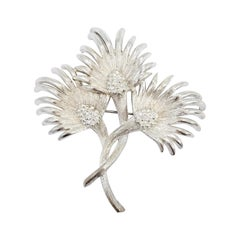 Lisner Silver Three Flower Bouquet Pin Brooch, Early 1900s Vintage