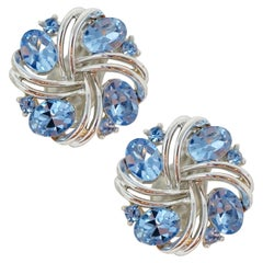 Lisner Vintage Baby Blue Crystal Earrings, circa 1955
