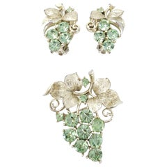 Lisner White Gold Peridot Pin Brooch and Clip on Earrings Set