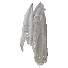 List white cotton Cardigan with fringes