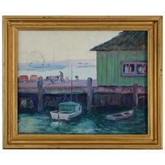 Listed California Artist Bess Gilbert Oil Painting San Diego Harbor Pier, 1930s