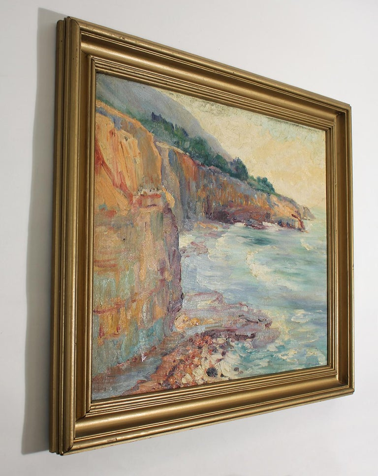 Listed San Diego Artist Bess Gilbert Impressionist Oil Painting Sunset Cliffs In Excellent Condition For Sale In San Diego, CA