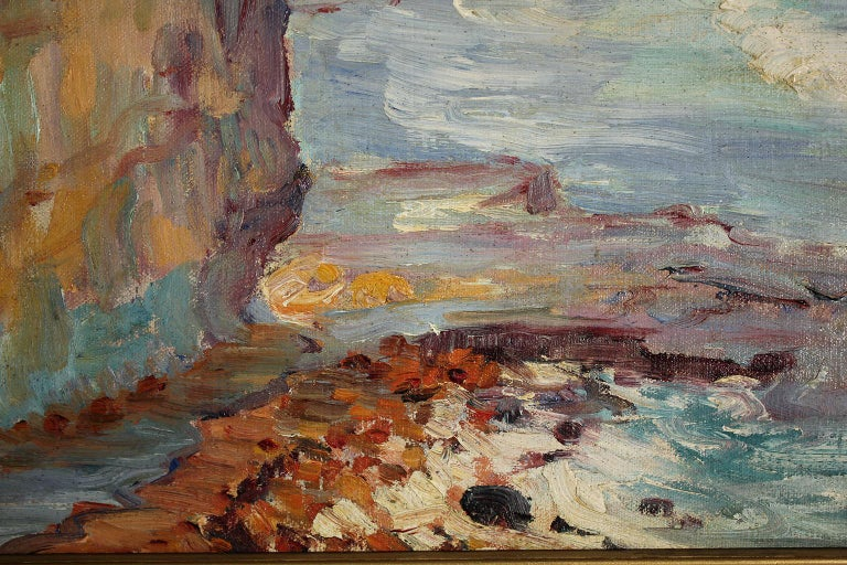 Listed San Diego Artist Bess Gilbert Impressionist Oil Painting Sunset Cliffs For Sale 2
