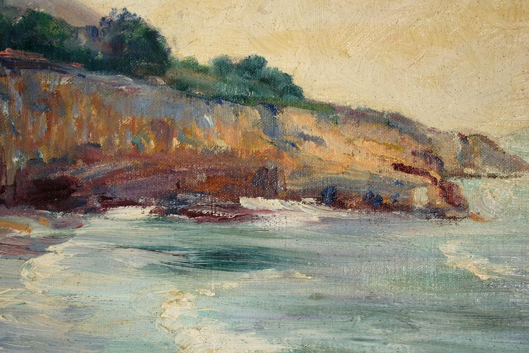 Listed San Diego Artist Bess Gilbert Impressionist Oil Painting Sunset Cliffs For Sale 3