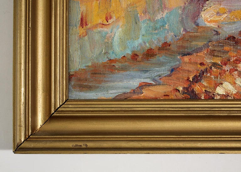 Listed San Diego Artist Bess Gilbert Impressionist Oil Painting Sunset Cliffs For Sale 4