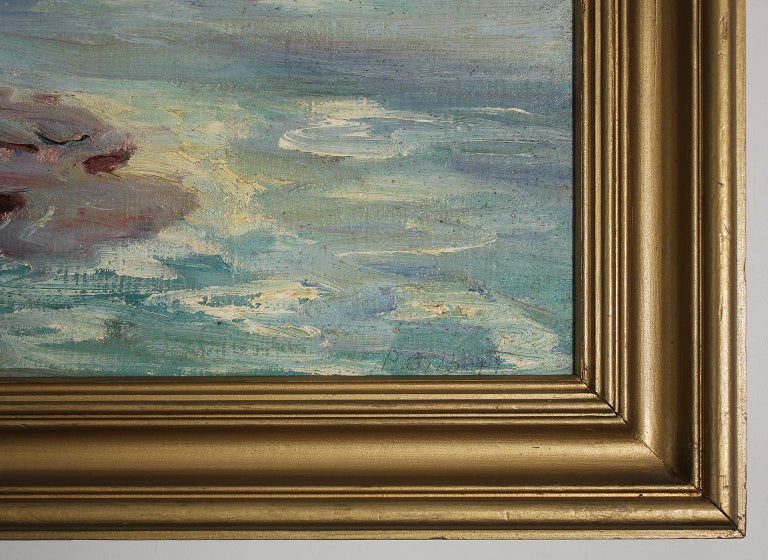 Listed San Diego Artist Bess Gilbert Impressionist Oil Painting Sunset Cliffs For Sale 5