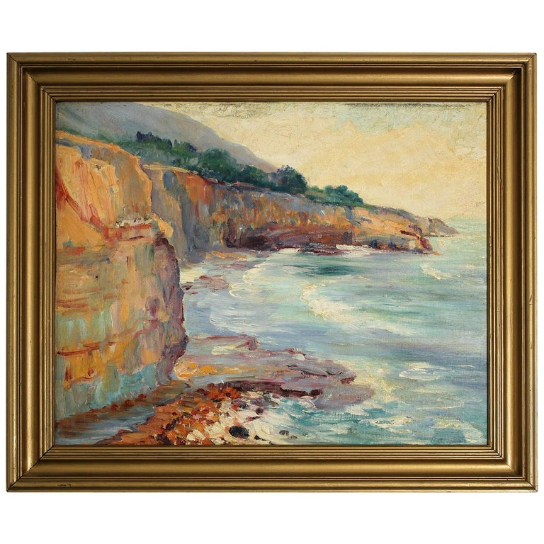 Listed San Diego Artist Bess Gilbert Impressionist Oil Painting Sunset Cliffs For Sale