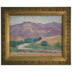 Listed San Diego Artist Bess Gilbert Impressionist Plein Air Oil Painting, 1930s