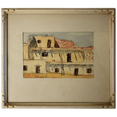 Listed San Diego Artist Bess Gilbert Watercolor Painting 1935 Exposition CPIE
