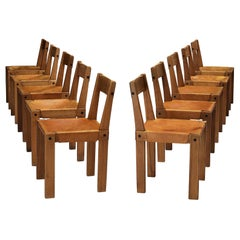 Listing for T: Eight Pierre Chapo 'S24' Chairs in Solid Elm and Cognac Leather