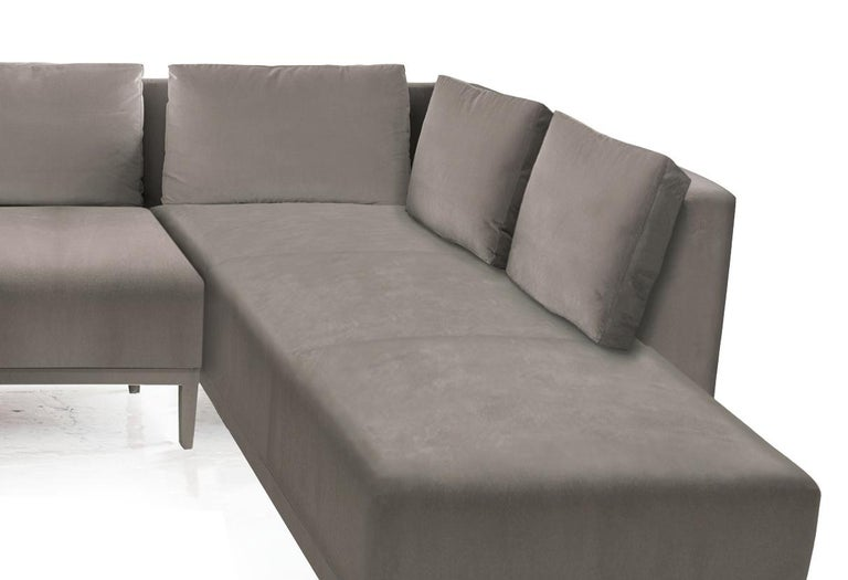 Modern Liston Sectional, Tuxedo Arms and Velvet Quilted Seam Detail For Sale