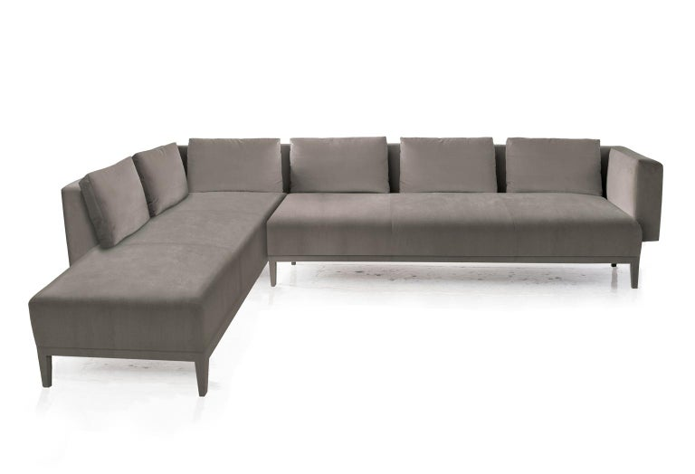 American Liston Sectional, Tuxedo Arms and Velvet Quilted Seam Detail For Sale