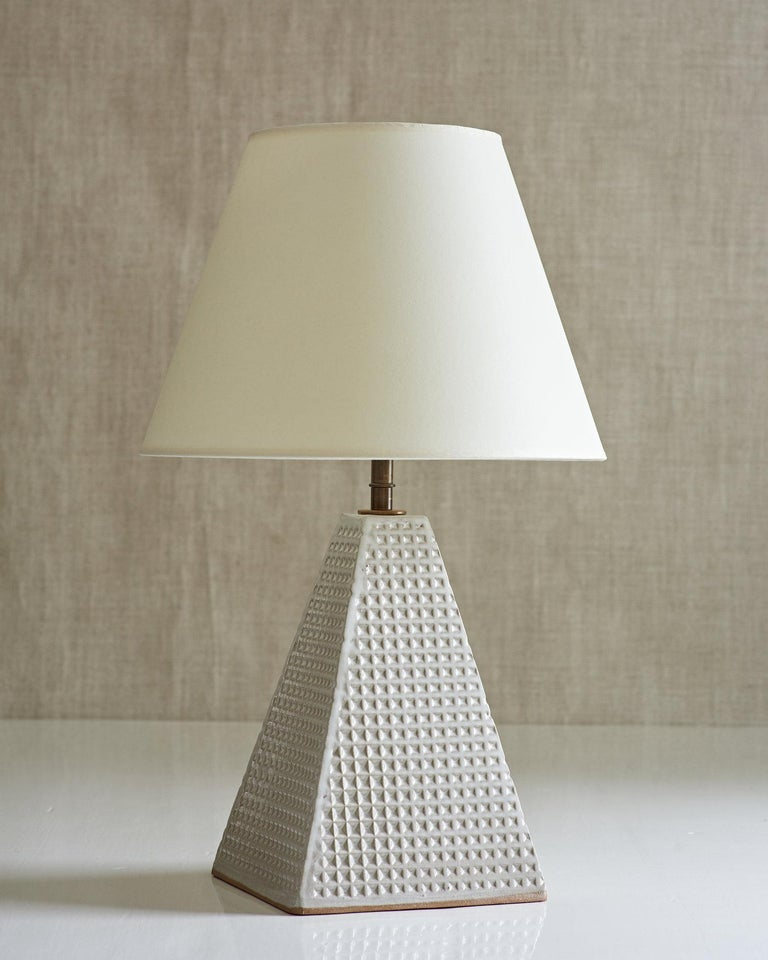 Fired Litchfield Lamp, Ceramic Sculptural Table Lamp by Dumais Made For Sale