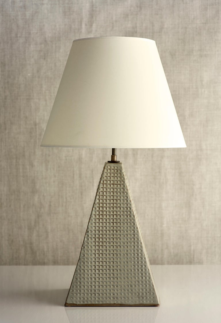 Fired Litchfield Lamp Extra Large, Ceramic Sculptural Table Lamp by Dumais Made For Sale
