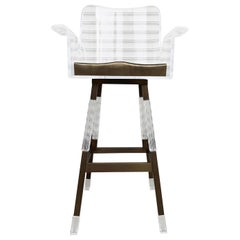 """Lithe"" Barstool in Lucite and Solid Brass by Amparo Calderon Tapia"