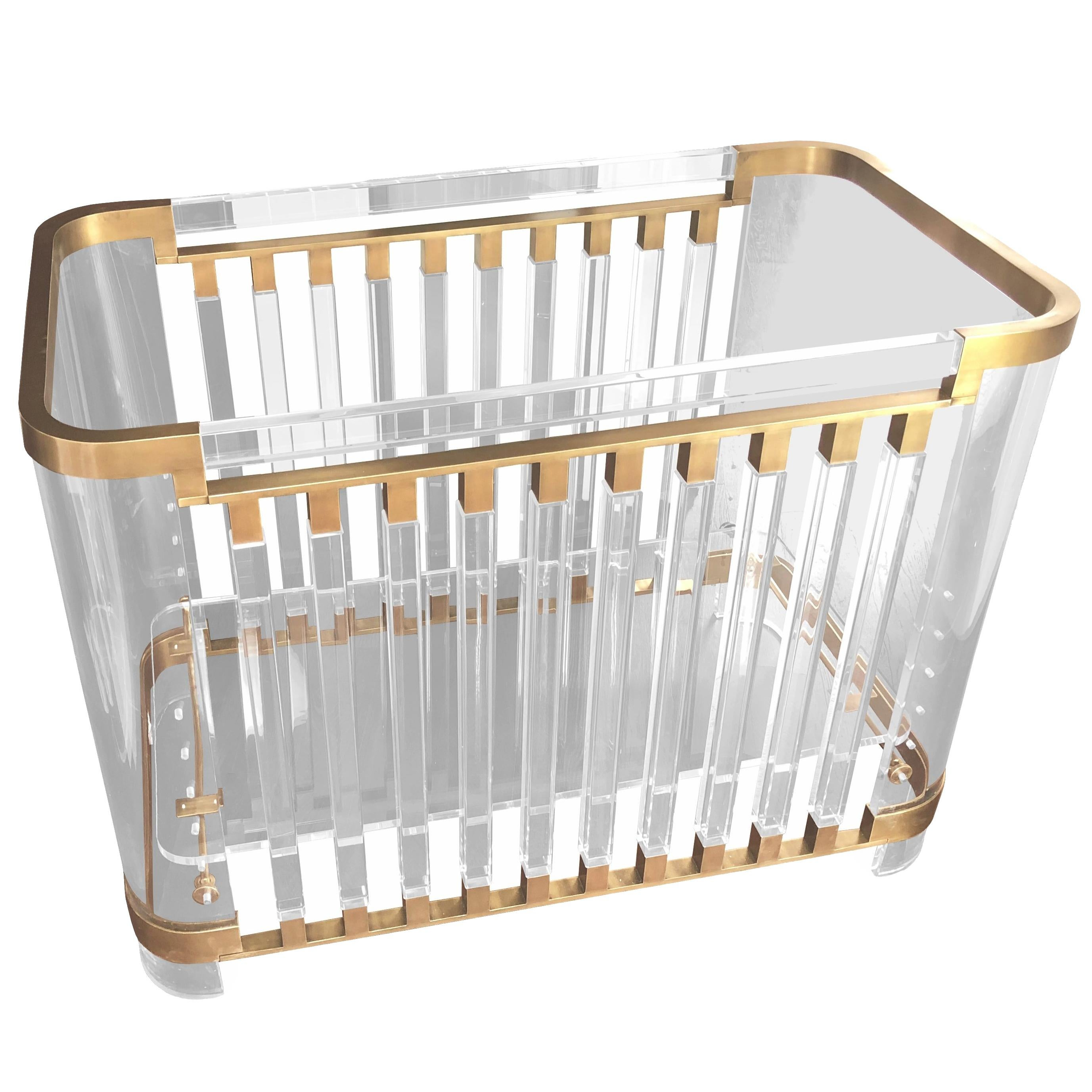 """""""Lithe"""" Lucite & Brass Baby Crib by Amparo Calderon Tapia, Limited Edition of 12"""