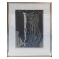 Lithograph by Lewis in Black, Gray & Taupe Titled towards the Unknown, 1965