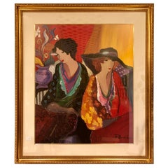 Lithograph by Patricia Govezensky of Two Woman Gilt Framed Signed