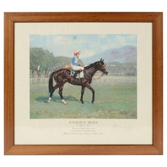 Lithograph Depicting the Horse Winner of the Italian Derby in 1986