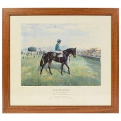 Lithograph Depicting the Horse Winner of the Italian Derby in 1987