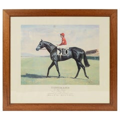 Lithograph Depicting the Horse Winner of the Italian Derby in 1988