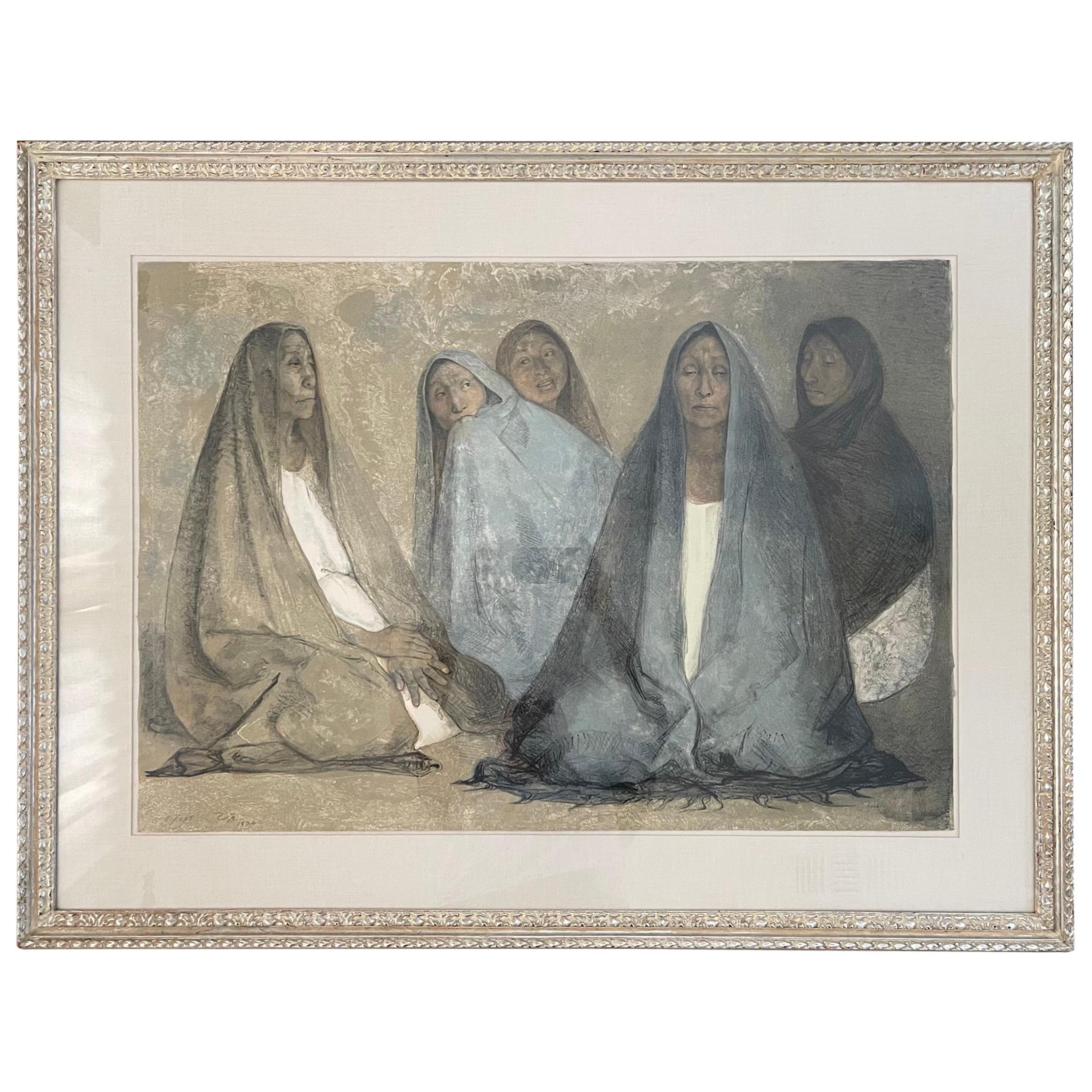 "Lithograph Drawing ""Grupo de Mujeres Sentadas, II"" by Francisco Zuniga"
