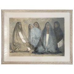 "Lithograph Drawing ""Grupo de Mujeres Sentadas, II"" by Francisco Zuniga"
