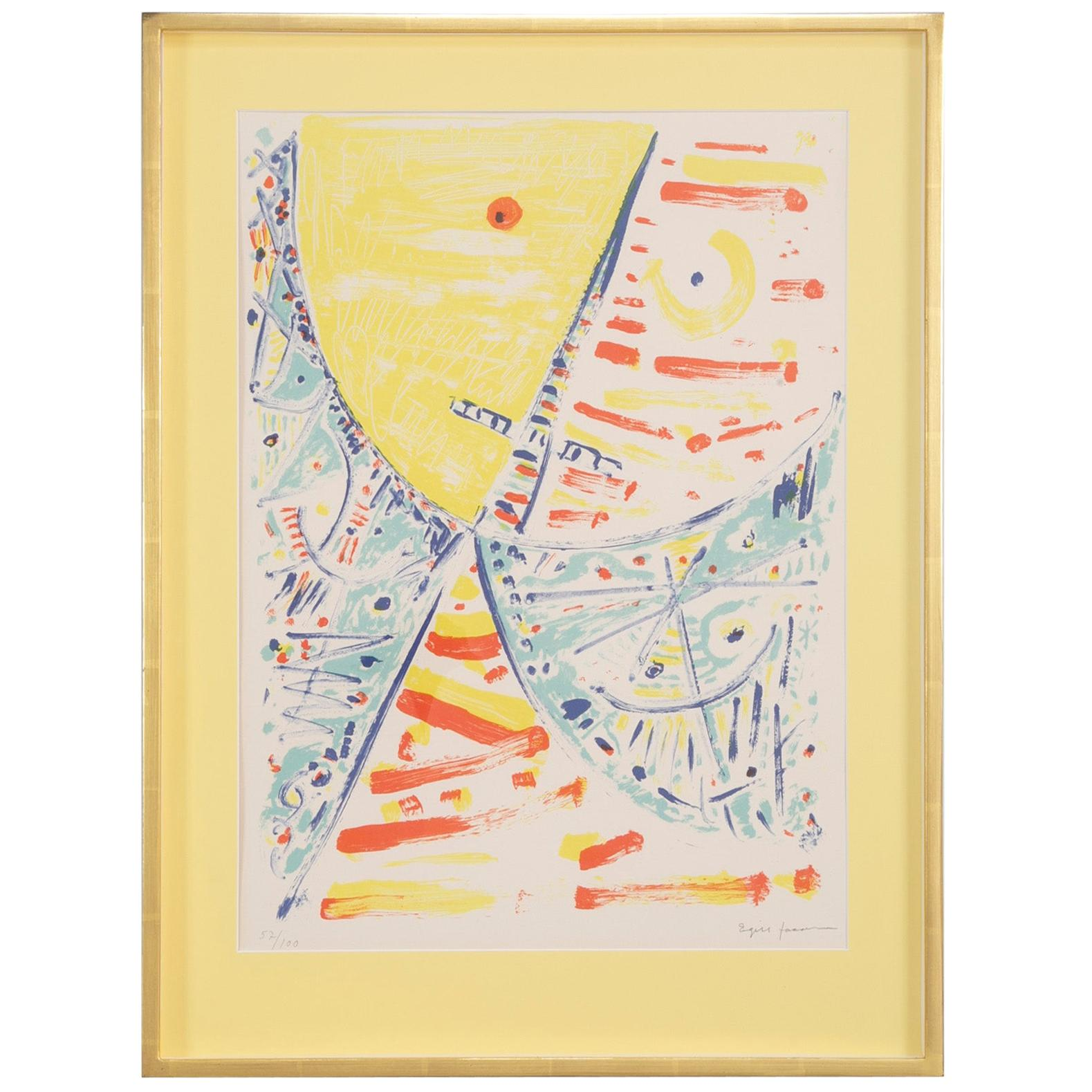 Lithograph in Colors Composition 57/100 by Egill Jacobsen