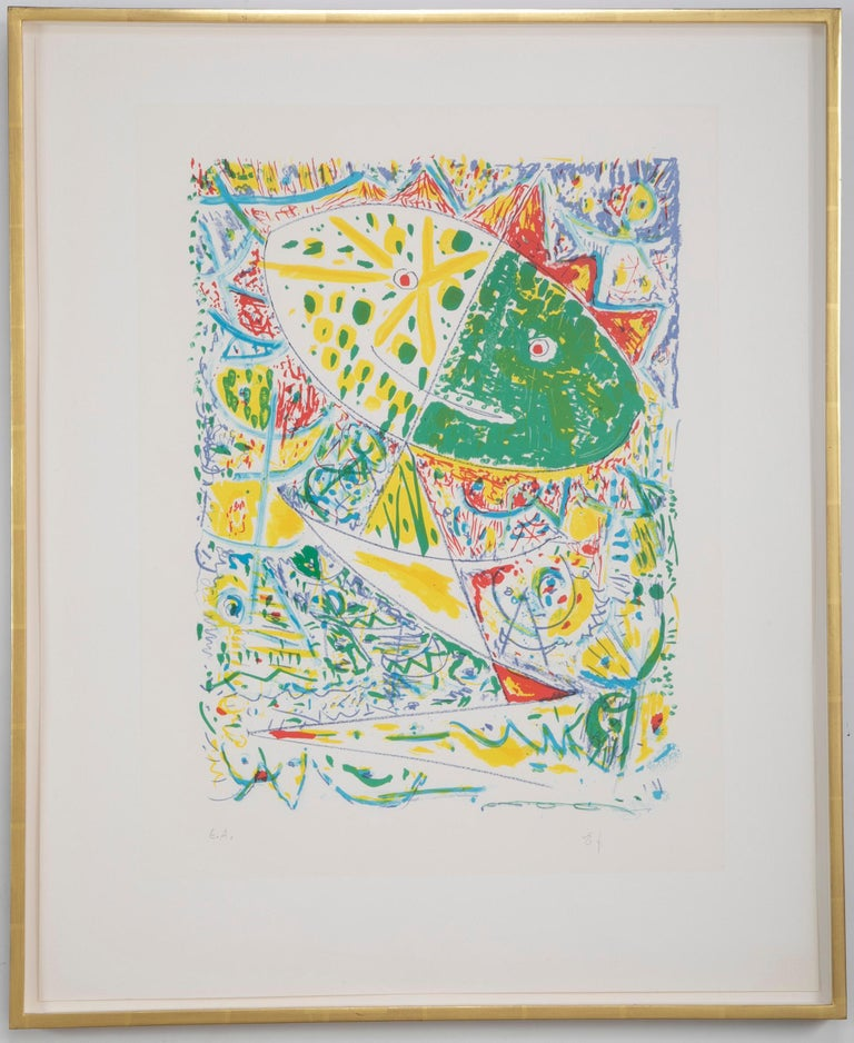 Lithograph in colors composition by Egill Jacobsen (Danish. 1918-1998). Signed EJ, EA. Framed using acid free materials, UV protective plexiglass in 22-karat yellow gold leaf frames.  Measures: Sight: 29.88