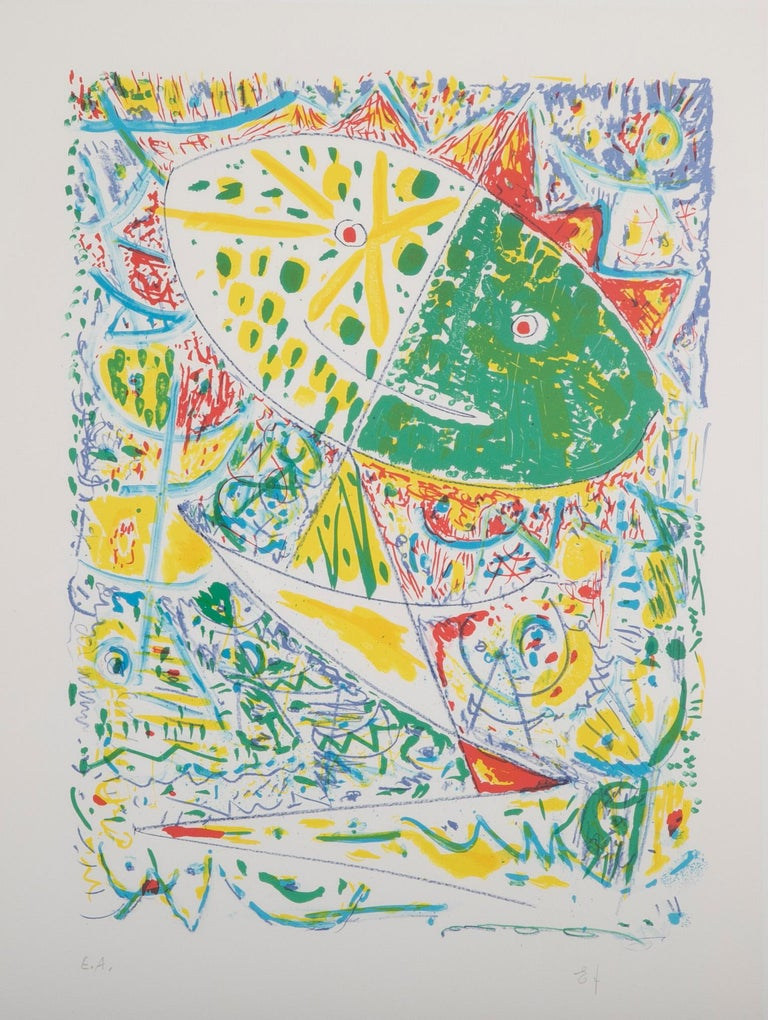 Modern Lithograph in Colors Composition by Egill Jacobsen For Sale
