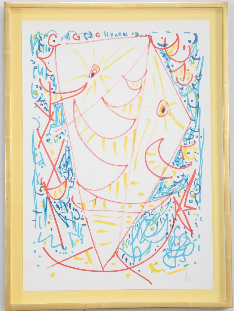 Lithograph in colors composition by Egill Jacobsen ( Danish. 1918-1998). Framed using acid free materials, UV protective plexiglass in 22-karat yellow gold leaf frames.  Sheet size: 19.5