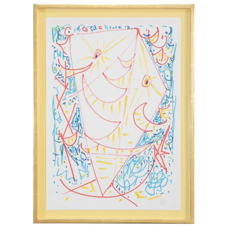 Lithograph in Colors Composition by Egill Jacobsen For Sale