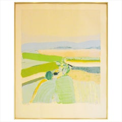 "Lithograph of Landscape, ""Springtime in Provence"" in Greens, Blues and Yellows"