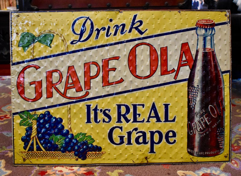 Lithograph Quilted Tin Advertising Sign, Early 20th Century Grape, Ola Soda For Sale 4