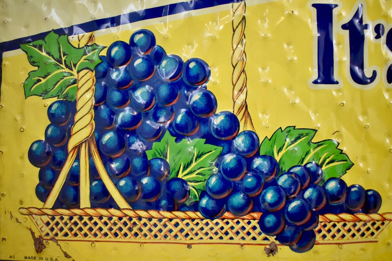 American Lithograph Quilted Tin Advertising Sign, Early 20th Century Grape, Ola Soda For Sale