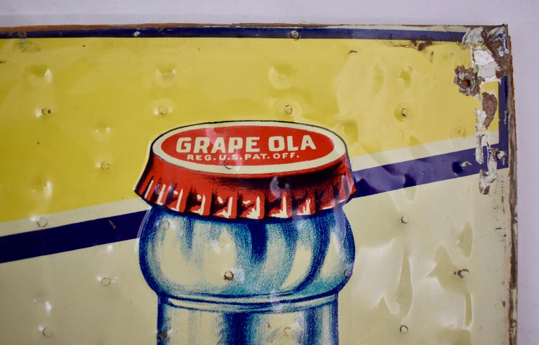 Lithograph Quilted Tin Advertising Sign, Early 20th Century Grape, Ola Soda In Good Condition For Sale In Philadelphia, PA