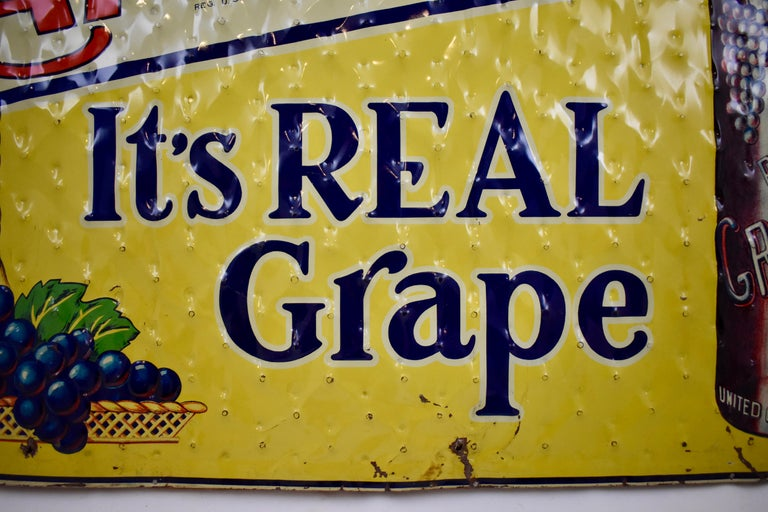 Lithograph Quilted Tin Advertising Sign, Early 20th Century Grape, Ola Soda For Sale 2