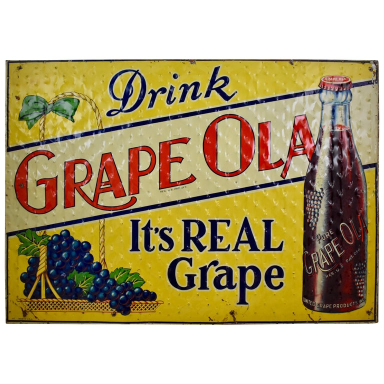 Lithograph Quilted Tin Advertising Sign, Early 20th Century Grape, Ola Soda For Sale