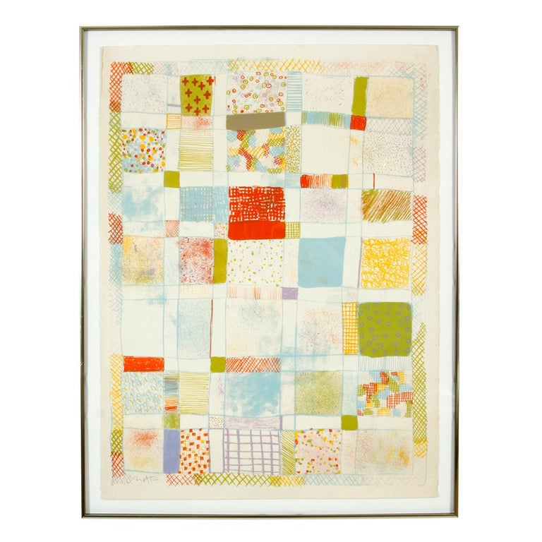 Abstract lithograph signed by Robert Natkin in quilt motif.